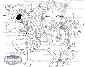 INSTANT DOWNLOAD Digi Stamps Big Eye Big Head Dolls Digi Bestie Prissy Poney Candy Flower Girl  Img399  By Sherri Baldy