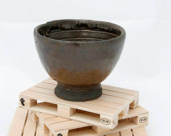 Stoneware blue glazed bowl.