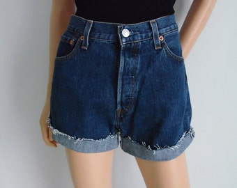 High waisted shorts, vintage Levis 501 blue denim jean shorts, cut off cuffed frayed hotpants, waist 29 small medium