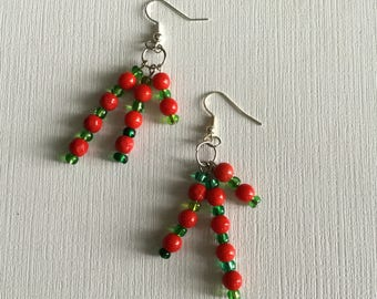 Red and Green Beads. -  Drop and Dangle Earrings