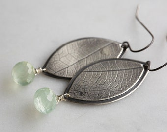 Misty Morning Earrings ( green prehnite gemstones. antique sterling silver dangle earrings. leaf print. nature jewelry )