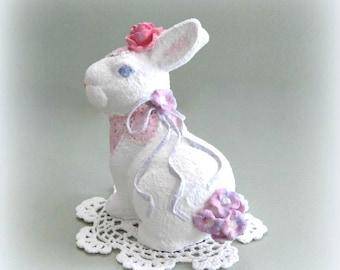 Shabby Chic Easter Bunny Decor Victorian Easter Rabbit Decor Easter Bunny Rabbit Decor White Rabbit Figurine White Bunny Decoration Figure