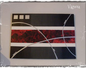 "Abstract painting ""red 1"" in gray, red, black"