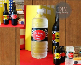 Race Car Bottle Labels * Instant Download * You Print