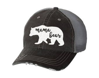 Mama Bear Distressed Ladies Baseball Hat | Mesh | Trucker | Mom Life | Momma