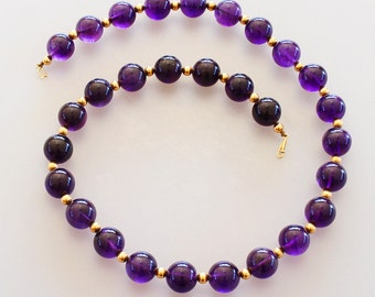 Vintage 14k Gold Amethyst Bead Necklace Jewelry Large Royal Purple Amethyst Beaded Necklace with 14k Gold Bead Spacers and 14k Gold Clasp