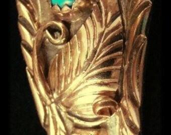 VIntage Navajo Ladies 12KGF Turquoise Coral Leaves Decorated Watchband-817T