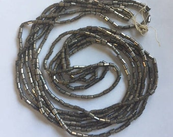Vintage European  Glass Bugle  Beads - Silver