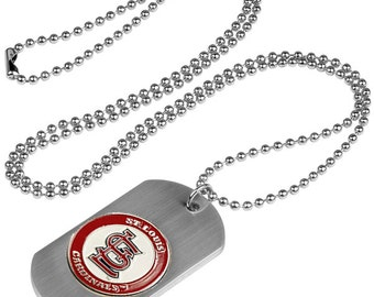 St Louis Cardinals Dog Tag Beaded Necklace