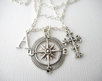 Cross, Compass- Initial Necklace/ Gift for best friend, Birthday Gift, Friend, Bff gift, bff jewelry, Friends Forever, gift for bff