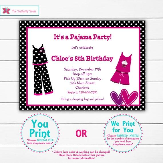 Pajama party birthday invitation slumber party sleepover filmwisefo