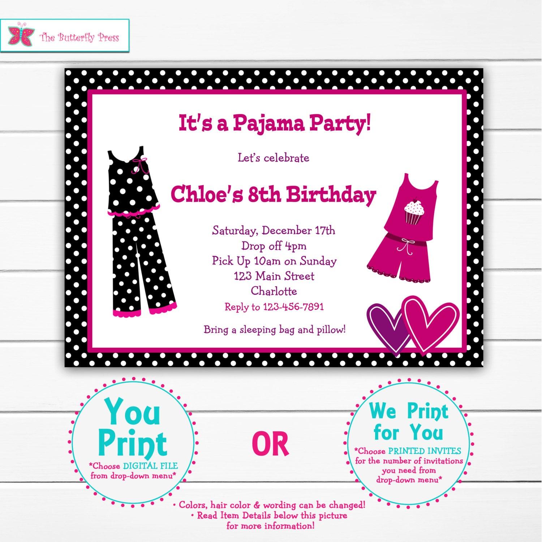 Pyjama party danniversaire invitation soirée pyjama soirée