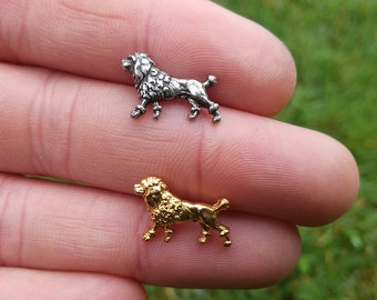 Tiny Poodle Pins Brooch, Dog Show Brooch, Silver-plated or Gilded Brass Poodle, Dog Lapel Pin, Pet Brooch, Art Nouveau Dog