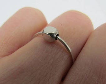 Silver Fidget Ring.Relax Ring. Spinner Ring.Spinning Bead Ring.Tiny Ring