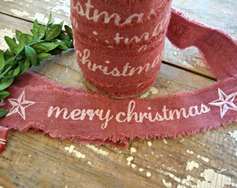 Rustic Frayed Edge Cotton Ribbon with Merry Christmas