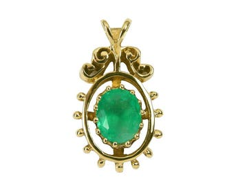 1.12ct Colombian Emerald & Gold Solitaire Pendant 14k, Vintage Emerald Solitaire Pendant, Gold Hills Emerald Pendant, Emerald Pendant Gold