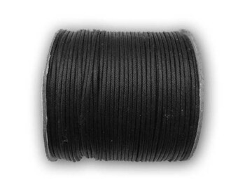 Cord cotton wax black Ø 1.5 mm roll of 100 m