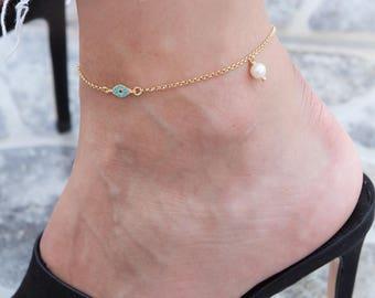 Gold Evil-Eye Anklet, Sideways Evil-eye, Silver Eye Anklet, Foot Jewelry, Body Jewelry, Ankle Bracelet, Beach Jewelry, Evil-eye Jewelry