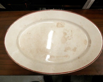 Antique Knowles Taylor and Knowles Iron Stone China HUGE 13 x 20 inch Oval Meat Platter Off-white w/Red Rim 1880's some issues sold AS IS!!