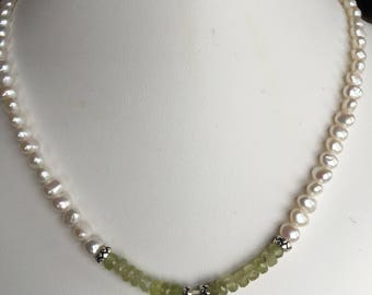 Necklace — Green Garnet, Sterling Charm, Freshwater Pearls