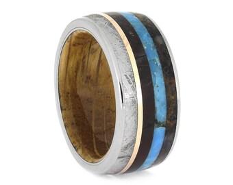 Whiskey Oak Wood Sleeve Ring, Dinosaur Bone Ring With Turquoise, Petrified Wood, Meteorite, And 14k Rose Gold