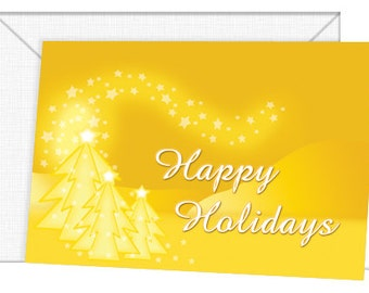 Personalized Golden Holiday Cards - Season's Greetings/Christmas