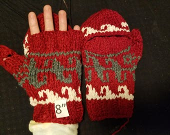 "F.) Hand made wool rayon mittens- Pakistani made- 8"" length"