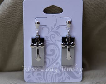 Silver Cross USB Drive Earrings