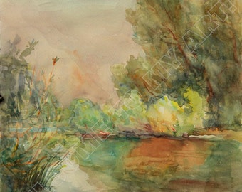 Digital Image, Gulf of Desna, Watercolor, Painting, Green, Yellow, Orange, Morning, River, Summer, Reflections, For print