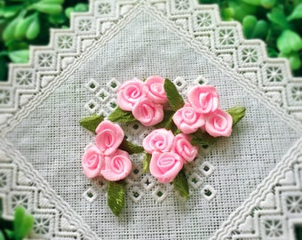 Light Pink Triple Roses (20 pcs/ 50 pcs), Pink Roses Bouquet, Satin Roses with Leaf, Mini Crafting Roses, Sewing Appliqué, Rose Boutonniere