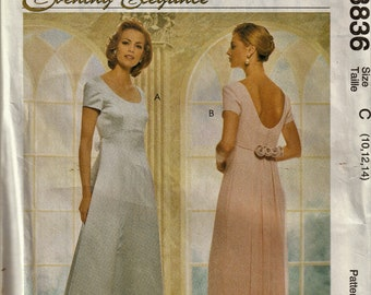 McCall's 8836  Misses Wedding, Prom, Special Occasion Dress      Size 10,12,14    Uncut