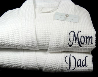 Monogram Bathrobe, Mom and Dad Robes, Personalized Robe, Cotton Anniversary Gift, Baby Shower Gift, New Parents Gift, 1802 Set of 2 Robes