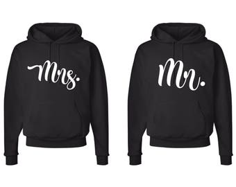 MR and Mrs.  Matching Hooded Sweatshirts, Matching hoodies, Valentines Day Hoodies~ MR and MRS