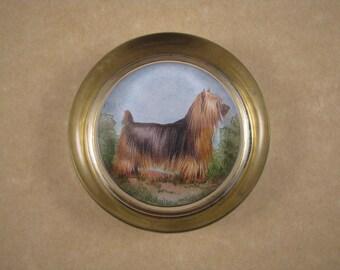 Silky Terrier Gift, Terrier Paperweight, Terrier Portrait, Dog Paperweight, Round Paperweight, Glasss Paperweight, Terrier Lover