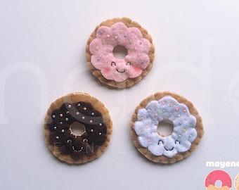 rainbow sprinkles trio donut brooch set, felt food pin