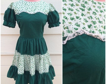 Garden green 60s square dance dress - size large