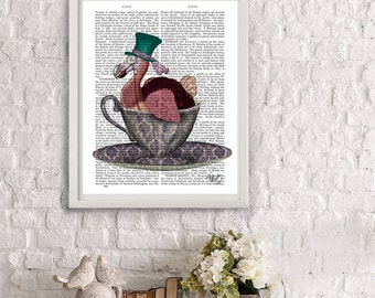 Dodo Bird Alice in Wonderland Decoration Mad hatter tea party - Dodo in Teacup - alice in wonderland print dodo print alice illustration