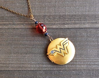 Wonder Woman Gold Locket Necklace Superhero Comic Charm Blue & Red Glass Bead Justice League Fans Megacon Comic Book Lover Pendant