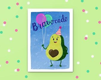 Avocado Greeting Card, Bravocado, Funny Card, Congrats Card, Engagement Card, Congratulations Card,