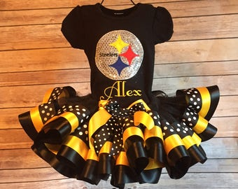 Pittsburgh Steelers Football Tutu Cheerleader Costume 2 - Can Add Name for free