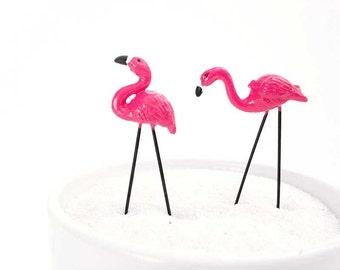 Miniature flamingos, fairy garden flamingos, tropical miniature landscape, pink flamingo, flamingo figurines