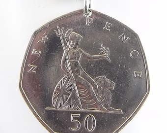 1969 English Coin Necklace, 50 Pence, Mens Necklace, Womens Necklace, Coin Pendant, Leater Cord, Vintage