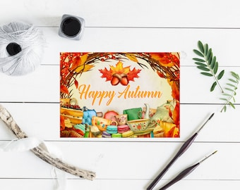 Fall Card, Fall Greeting Card, Autumn Greeting Card, Happy Fall, Seasonal Greetings, Seasonal Cards, Sentiments, Greeting Cards, Well Wishes