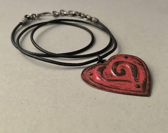 Rustic red heart pendant, black leather cord, Valentine necklace