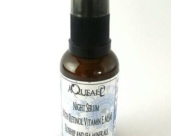 Night Serum  With Retinol Vitamin E, MSM Rosehip and sea minerals gentle resurfacing improve collagen as you sleep glass jar repair sooth