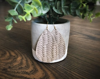 Stone Gray Woven Leather Earrings