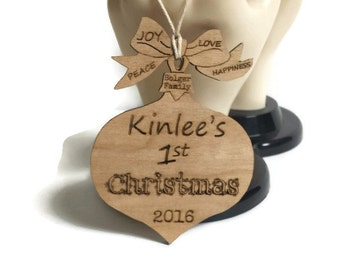 Personalized Christmas Ornaments, Baby's First Christmas Ornament, Laser Engraved Christmas ornament, Newborn Christmas, Custom