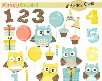 ON SALE Owls clip art,kids birthday invite clip art,owls clip art, invites,cards,scrapbook,cupcake,numbers,INSTANT Download