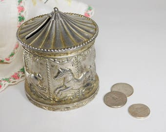 Silver Plated Carousel Coin Bank