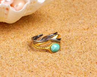 18k Gold Vermeil Turquoise Ring